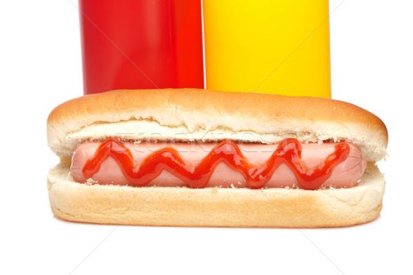 Stock fotó: Hot · dog · ketchup · mustár · üvegek · izolált · fehér