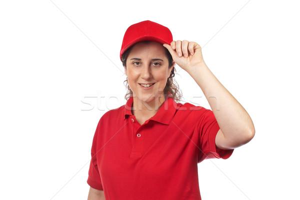 Pizza entrega mulher isolado branco menina Foto stock © broker
