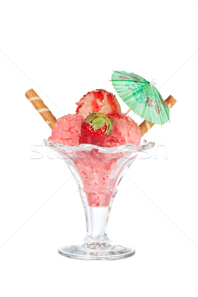 Delicious strawberry ice cream with umbrella Stock photo © broker