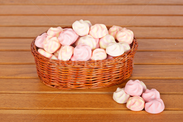 Pink marshmallows in the basket Stock photo © broker