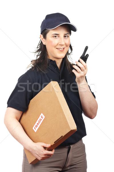 пакет хрупкий курьер женщину белый девушки Сток-фото © broker