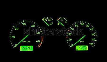Zöld neon autó műszerfal fekete technológia Stock fotó © broker