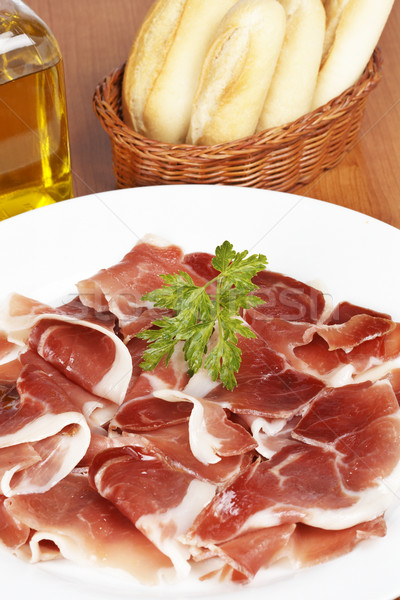 Slices of spanish ham Stock photo © broker