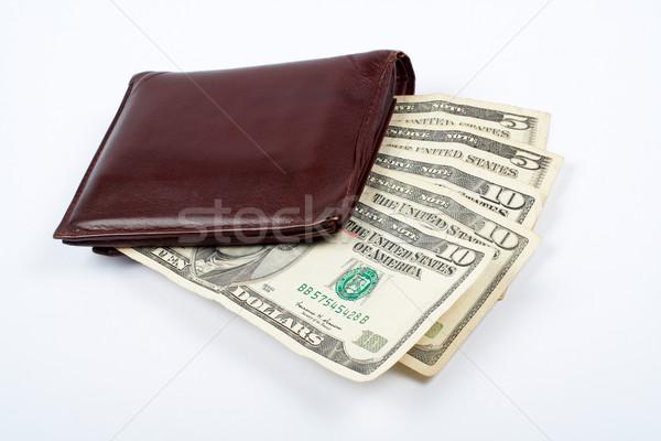 Stock fotó: öreg · bőr · pénztárca · számlák · bent · izolált