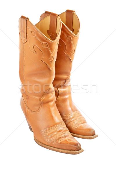 Par usado botas de vaqueiros isolado branco sapatos Foto stock © broker