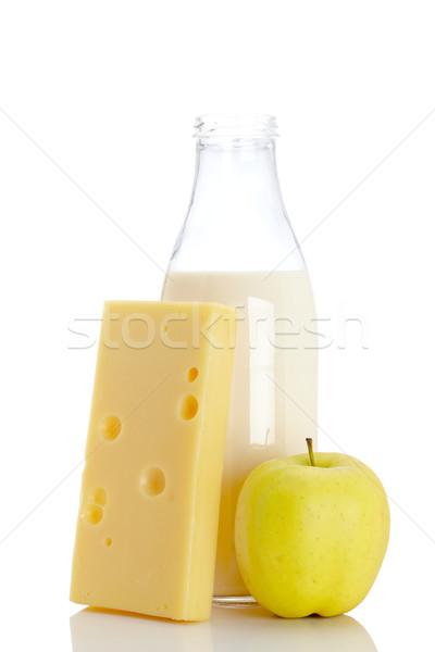 Stok fotoğraf: Peynir · elma · süt · şişe · dilim · taze