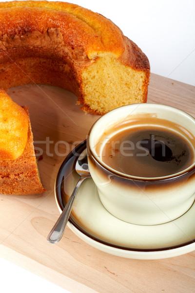 Piskóta csésze kávé kanál fa tányér Stock fotó © broker