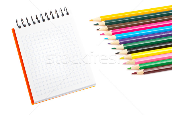 Blank notebook and coloured pencils  Stock photo © broker