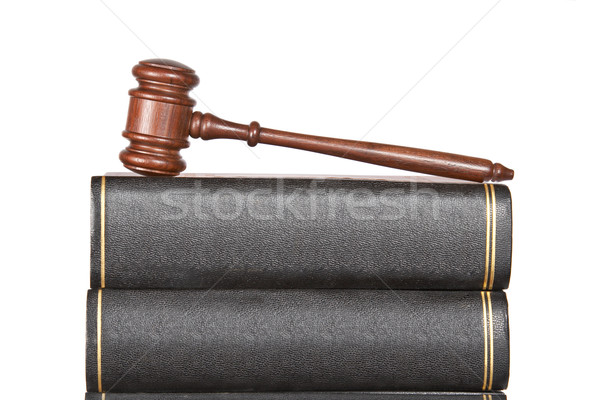 Fából készült kalapács törvény könyvek izolált fehér Stock fotó © broker