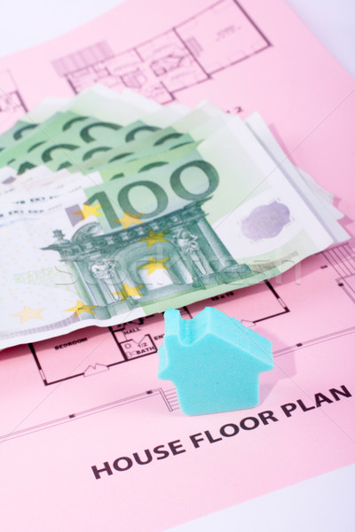 House and money on home plan Stock photo © broker