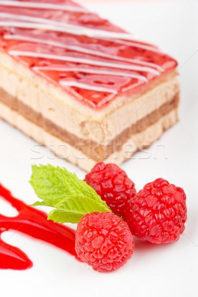 Delicious raspberries cake Stock photo © broker