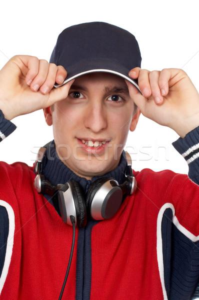 Discotecário mãos boné branco mão homem Foto stock © broker
