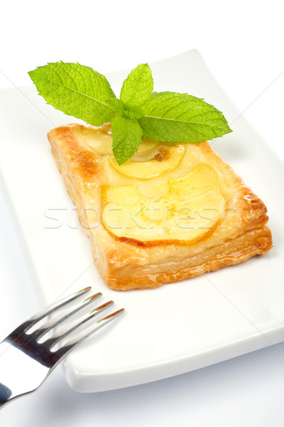 Fork and apple tart on a dish Stock photo © broker