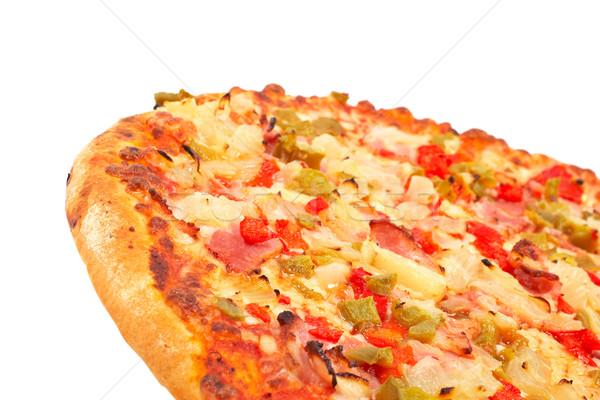 Foto d'archivio: Gustoso · italiana · pizza · isolato · bianco · poco · profondo