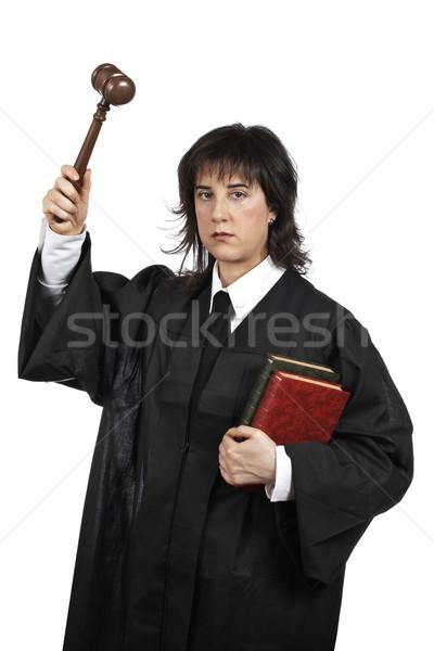 深刻 女性 裁判官 小槌 図書 ストックフォト © broker