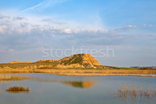 Domb kék ég tó évszak tavasz égbolt Stock fotó © broker