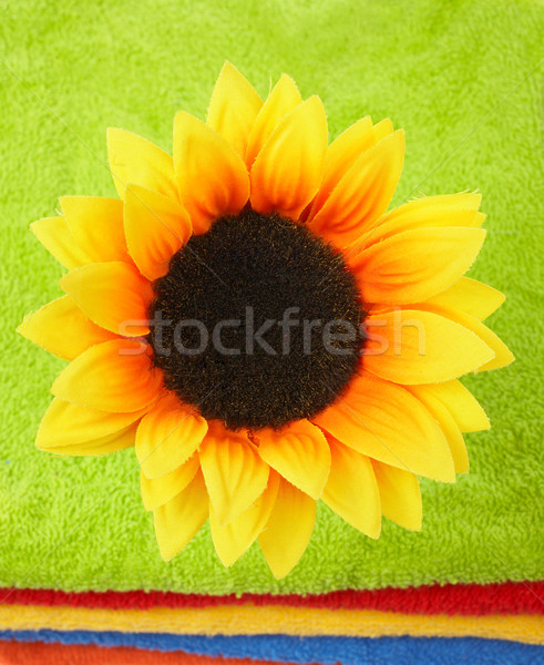 Flower on multicolor towels Stock photo © broker