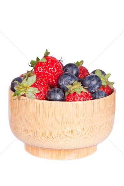 Arándanos fresas tazón aislado blanco superficial Foto stock © broker