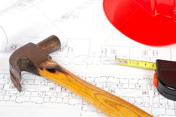 Photo stock: Blueprints · outils · construction · plans · peu · profond