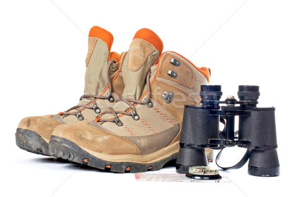 Hiking boots, compass and binoculars Stock photo © broker
