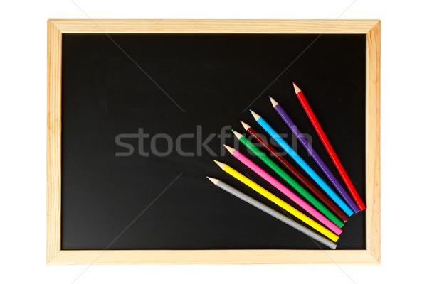 Zdjęcia stock: Tablica · wielobarwny · ołówki · pusty · czarny · odizolowany