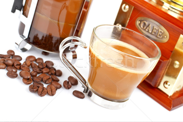 Cup, grinder, coffee pot and beans Stock photo © broker