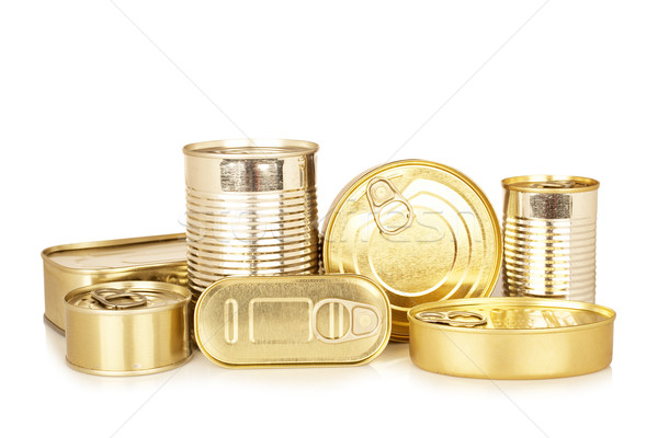 Assortment of golden food tin can Stock photo © broker