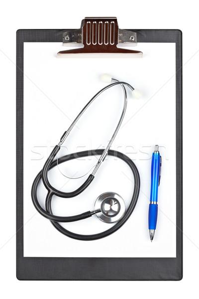 медицинской буфер обмена стетоскоп пер изолированный белый Сток-фото © broker