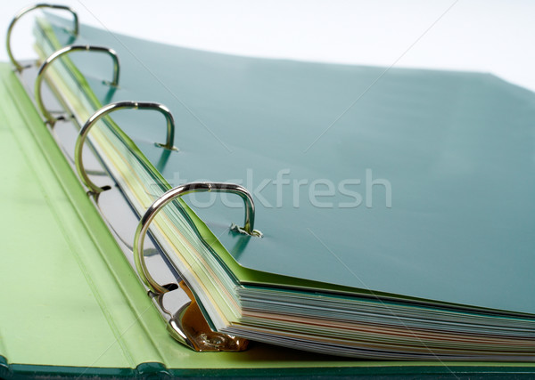 Binder closeup with files stacked Stock photo © broker