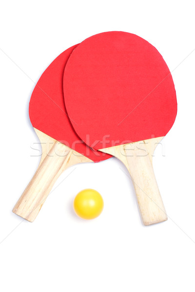 Ping pong paddles and yellow ball Stock photo © broker