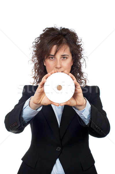 Business woman holding a dvd disc Stock photo © broker