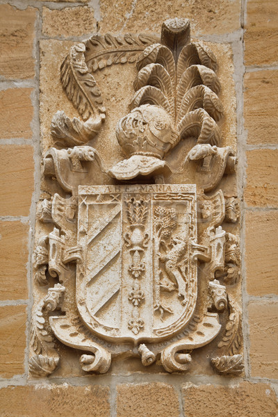 Carved stone coat of arms on the wall Stock photo © broker