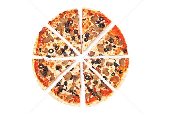 Pizza lezzetli İtalyan beyaz sığ akşam yemeği Stok fotoğraf © broker