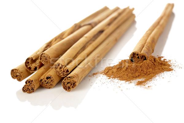 Zdjęcia stock: Proszek · cynamonu · biały · płytki · żywności