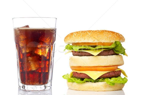 Double Cheeseburger Soda Glas Abendessen Energie Stock foto © broker