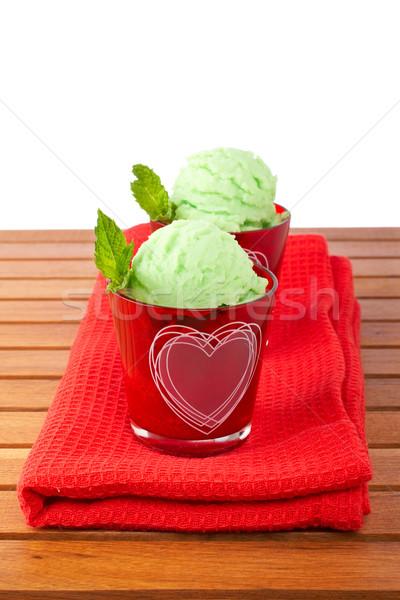 Two delicious mint ice creams Stock photo © broker