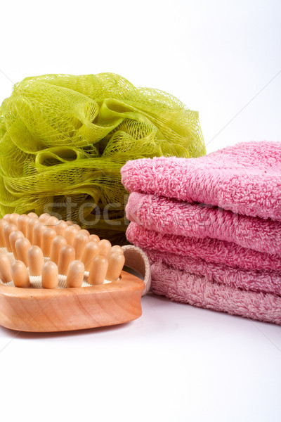 Towels, body sponge and wood brush Stock photo © broker