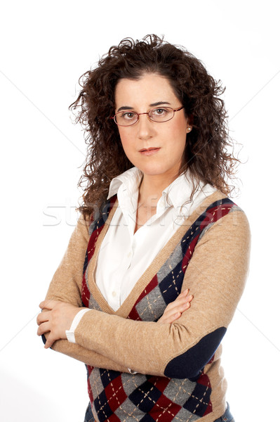 Sérieux femme d'affaires permanent blanche affaires fille Photo stock © broker