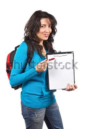 Holding the chalkboard Stock photo © broker