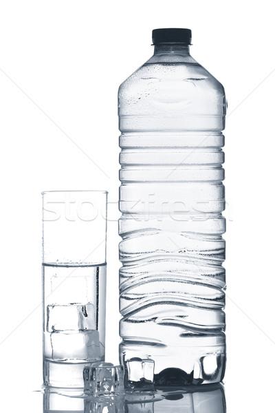üveg üveg ásványvíz jégkockák egészség jég Stock fotó © broker