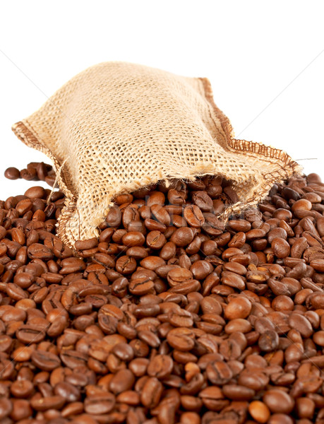 Burlap sack and coffee beans Stock photo © broker