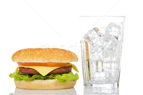 Cheeseburger vide verre blanche peu profond Photo stock © broker