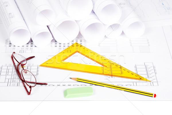Stok fotoğraf: Planları · çizim · araçları · inşaat · planları · seçici · odak