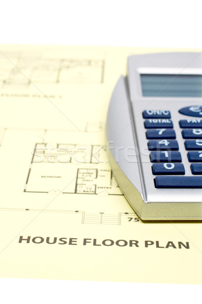 Stock photo: House floor plan and calculator