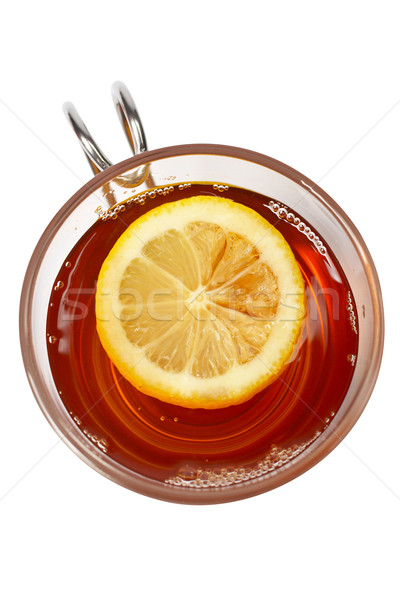 Verre tasse thé citron une tranche Photo stock © broker