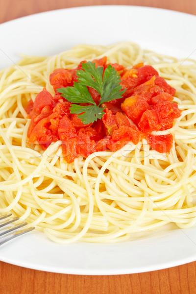 Spaghetti vers gekookt plaat tomatensaus eten Stockfoto © broker