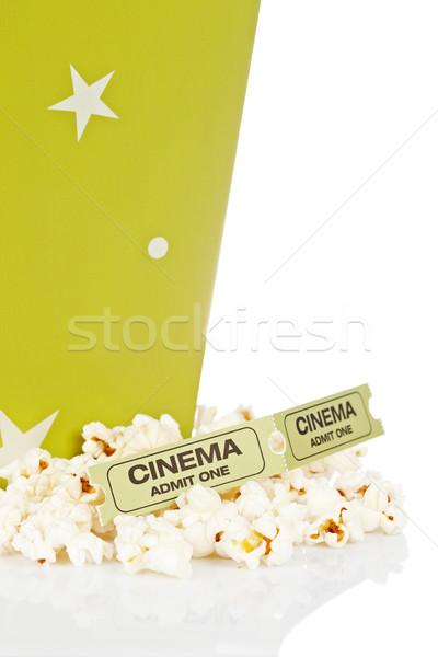 Twee tickets popcorn emmer geïsoleerd witte Stockfoto © broker