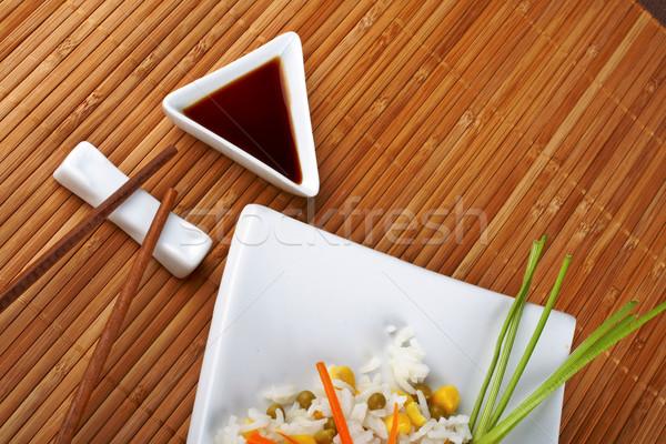 Salada arroz molho bambu comida laranja Foto stock © broker