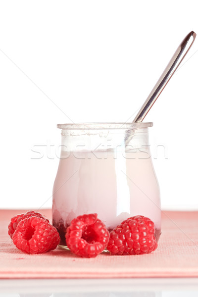 Raspberries yogurt with a spoon Stock photo © broker