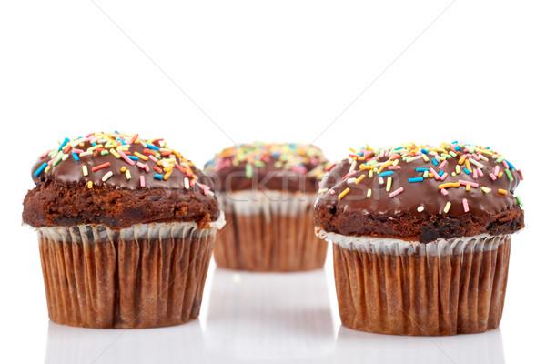 üç çikolata lezzetli yalıtılmış beyaz Stok fotoğraf © broker